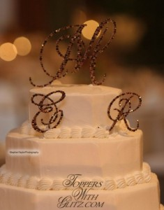 Traditional Monogram Cake Topper  Font: Brittany (EMR)  Colors: Burgundy, Light Colorado Topaz, Smoked Topaz, Copper