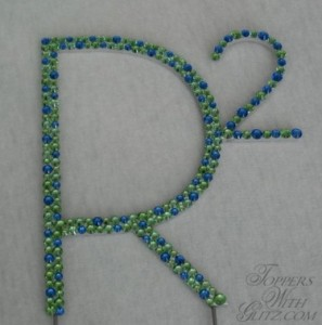 """R squared"" Custom Logo Topper  Fonts: Custom  Colors: Sapphire, Peridot"