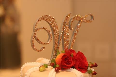 Monogram Wedding Cake Topper using Swarovski crystals Light Colorado Topaz