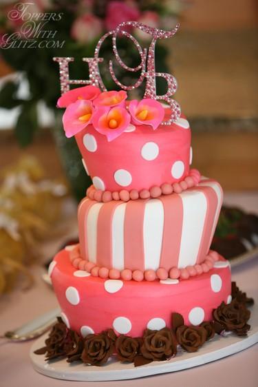 Beautiful Monogram Cake Topper