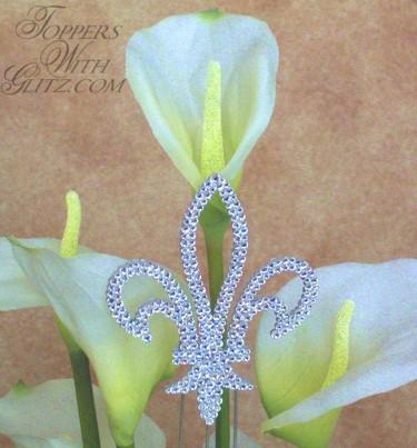 Fleur De Lis crystal cake topper