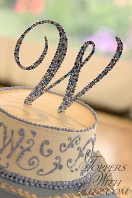 Letter Cake Topper using Light Sapphire, Silk, Light Sapphire AB and Sapphire